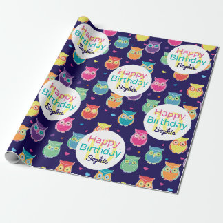 Girls Happy Birthday Blue Owl Pattern Personalized Wrapping Paper