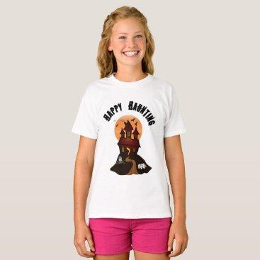 Beach Themed Girl's Happy Haunting Halloween Tshirt