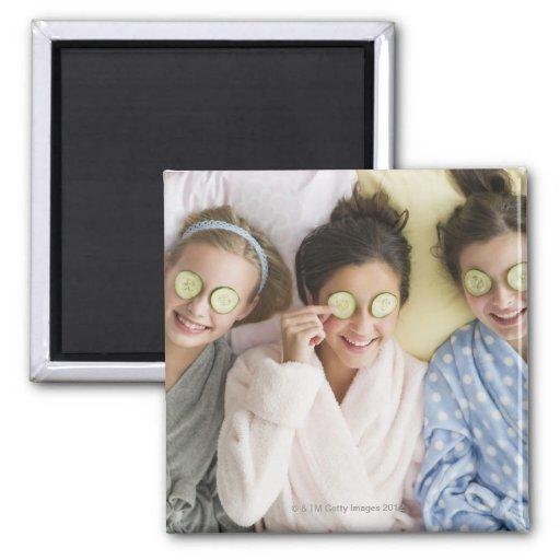 Girls having a facial fridge magnet