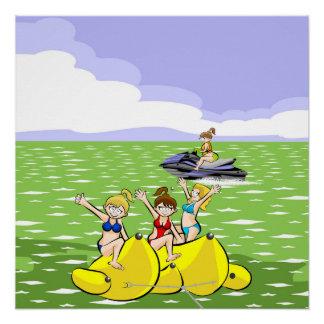 Girls having fun in Jet ski and Banana boat Poster
