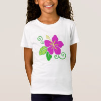 Girls Hawaiian Hibiscus Flower T-shirt