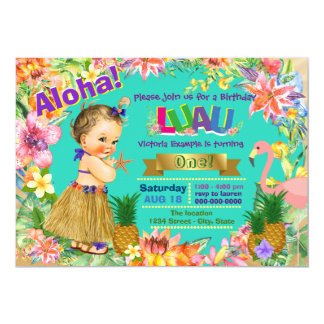 Girls Hawaiian Luau Birthday Party Card