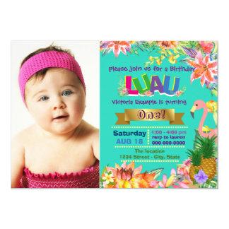 Girls Hawaiian Luau Birthday Party Card