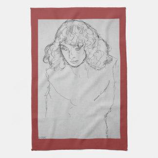 Girls head by Gustav Klimt Kitchen Towel