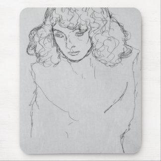 Girls head by Gustav Klimt Mouse Pad