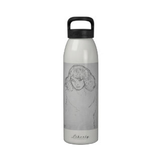 Girls head by Gustav Klimt Drinking Bottle