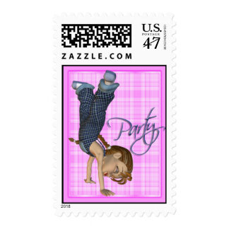 Girl's Headstand Party Invitation Stamp