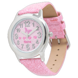 Girls Hearts and Butterfly Watches Personalized