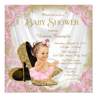Girls High Heel Shoe Pearl Baby Shower Card