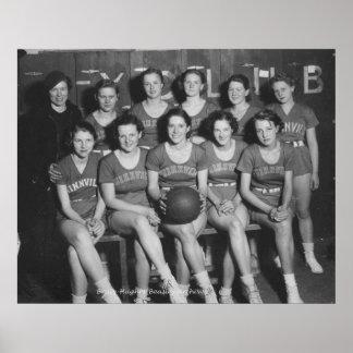 Girls High School Basketball Team Poster
