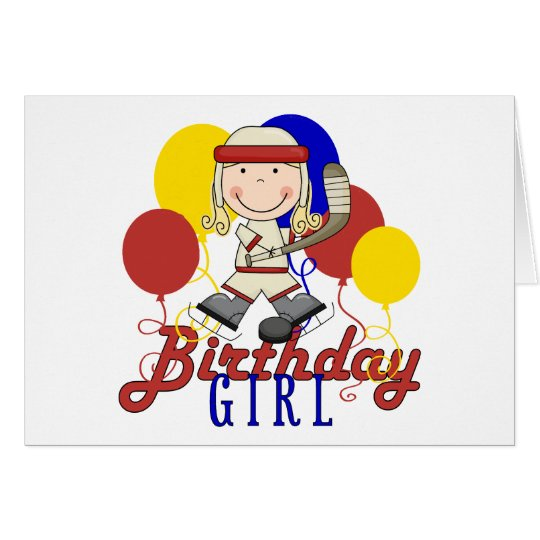 Girls Hockey Birthday Card