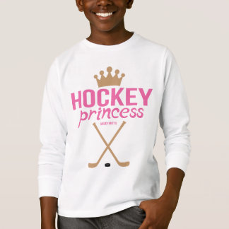 Girls Hockey Princess Pink Hockey Sticks T-Shirt