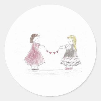 Girls Holding Heart Chain Classic Round Sticker