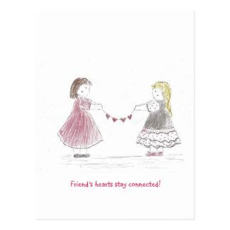 Girls Holding Heart Chain Postcard