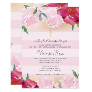 Girl's Holy First Communion Invitation