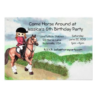 girls horse birthday party custom invitations