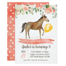 Girls Horse Birthday Party Invitation