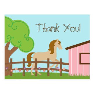 Girl's horse birthday party thank you post card