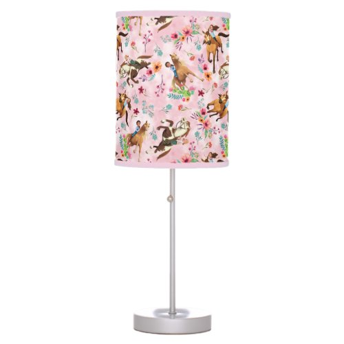 Girls & Horses Pink Watercolor Floral Pattern Table Lamp