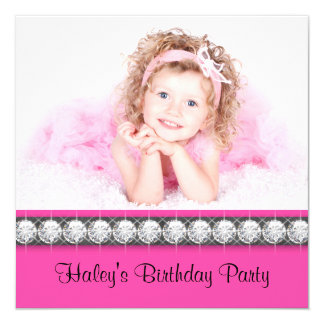 Girls Hot Pink Birthday Party 5.25x5.25 Square Paper Invitation Card