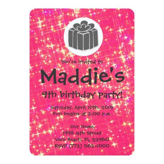 Girls Hot Pink Sparkle 9th Birthday Party Invite