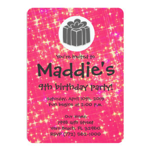9th birthday invitations announcements zazzle girls hot pink sparkle 9th birthday party invite filmwisefo