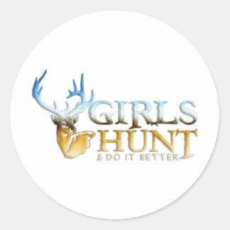 GIRLS HUNT DEER ROUND STICKERS