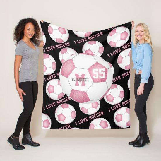 girls I love soccer text pink white black Fleece Blanket