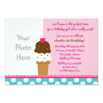 Girls Ice Cream Shop Photo Birthday Invitations