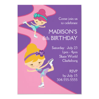 Girl's Ice Skating Party 5x7 Paper Invitation Card
