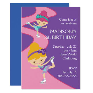 Girl's Ice Skating Party Card