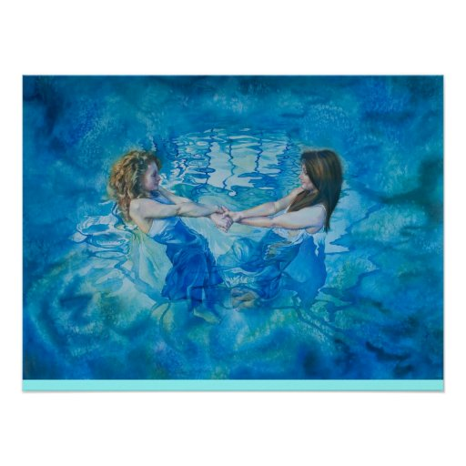 Girls in a blue pool poster
