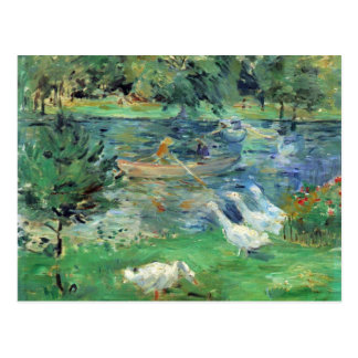 Girls in a boat with geese by Berthe Morisot Postcard