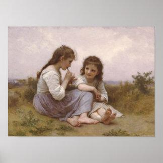 Girls in a Meadow Print
