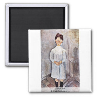 Girls In Blue By Modigliani Amedeo 2 Inch Square Magnet