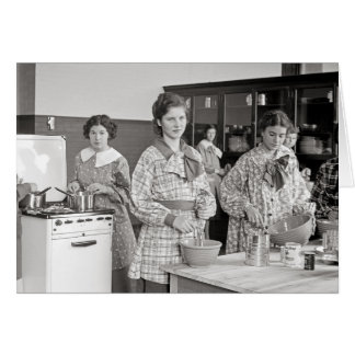 Girls in Cooking Class, 1935 Card