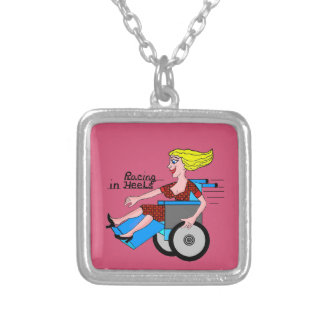 Girls in Heels need Wheelchairs Silver Plated Necklace
