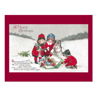 Girls in Red Coats with Dolls Postcard