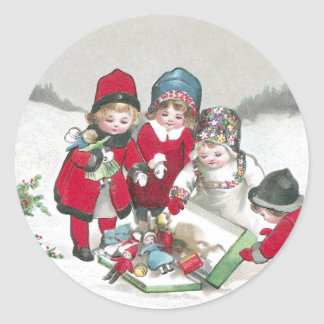 Girls in Red Coats with Dolls Round Sticker