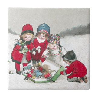 Girls in Red Coats with Dolls Small Square Tile