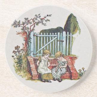 Girls in the garden coaster