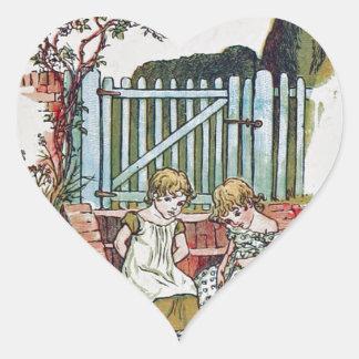 Girls in the garden heart sticker