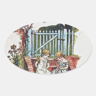 Girls in the garden oval sticker