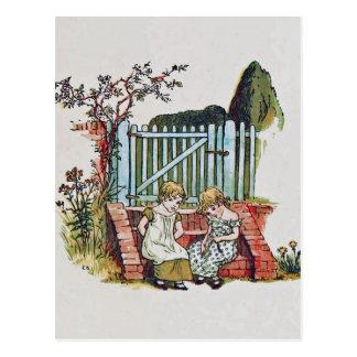 Girls in the garden postcard