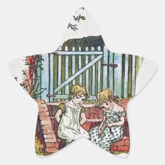Girls in the garden star sticker