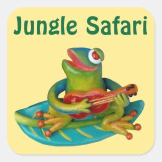 Girl's Jingle Safari Party Square Sticker
