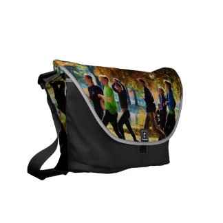 Girls Jogging On an Autumn Day Courier Bag