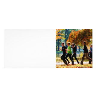 Girls Jogging On an Autumn Day Custom Rack Cards