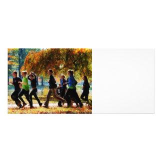 Girls Jogging On an Autumn Day Custom Rack Card