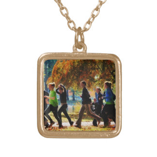 Girls Jogging On an Autumn Day Square Pendant Necklace